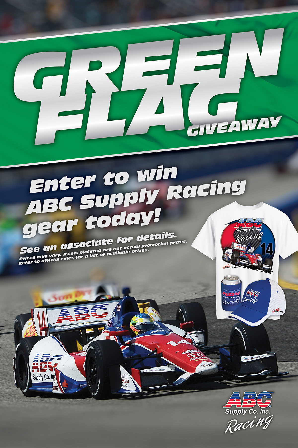 ABC Supply racing green flag giveaway ad