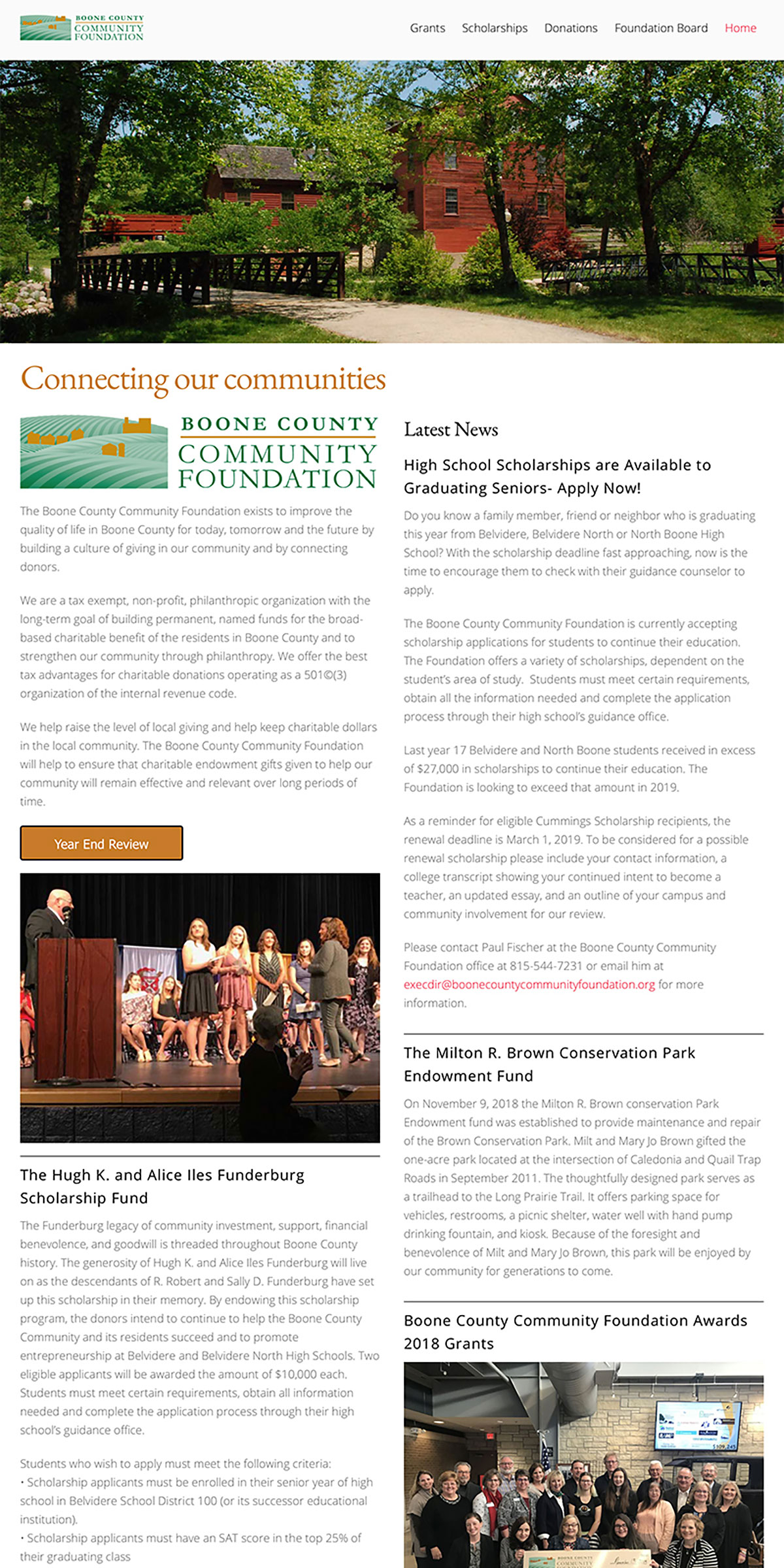Boone County community Foundation website